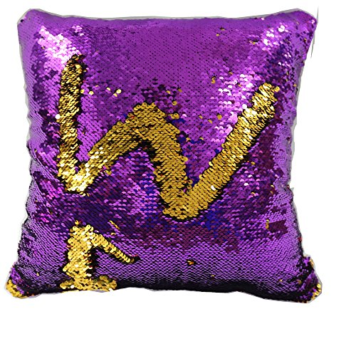 TRLYC Mermaid Sparkling Purple and Gold Sequin Throw Pillow Mermaid Magic Glitter Reversible Color Changing Decorative Pillow Cases for Sofa Comfy (Gold And Purple Throw Pillows)