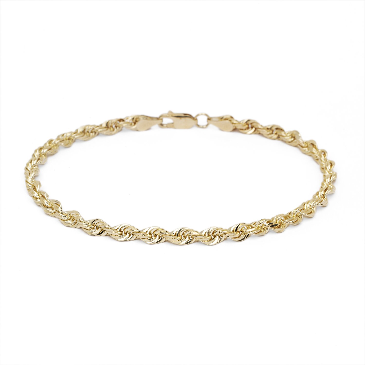 8 Inch 10k Yellow Gold Diamond Cut Hollow Rope Chain Bracelet and Anklet for Men & Women, 3mm