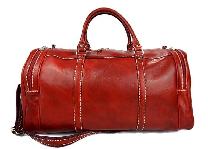 3e258aee5e6 Amazon.com  Mens leather duffle bag red shoulder bag travel bag luggage  weekender carryon cabin bag gym leather bag  Handmade