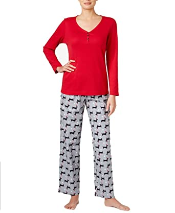 7c00bc333488e Image Unavailable. Image not available for. Color  Charter Club Henley Top  and Printed Flannel Pants Pajama Set ...
