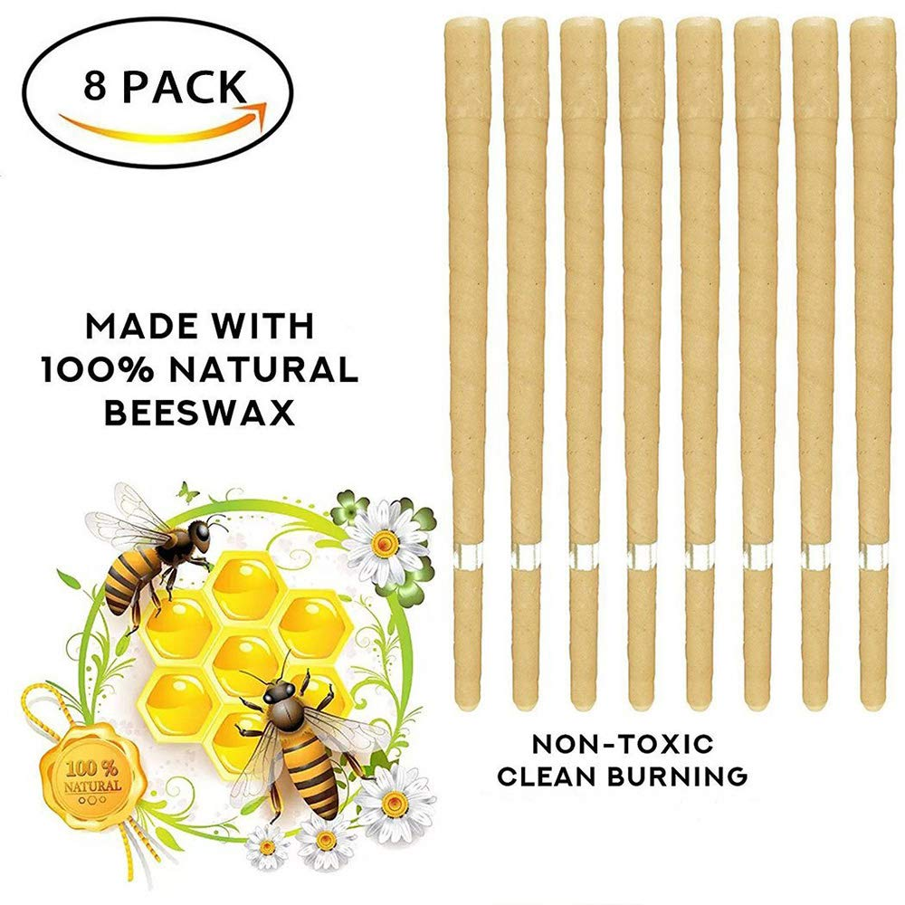 8 Pcs 100% Natural Odorless Hollow Beeswax Ear Candles Phototherapy Earrings Candling Cone Wax Removal Kit Health Care Puasaz Candle
