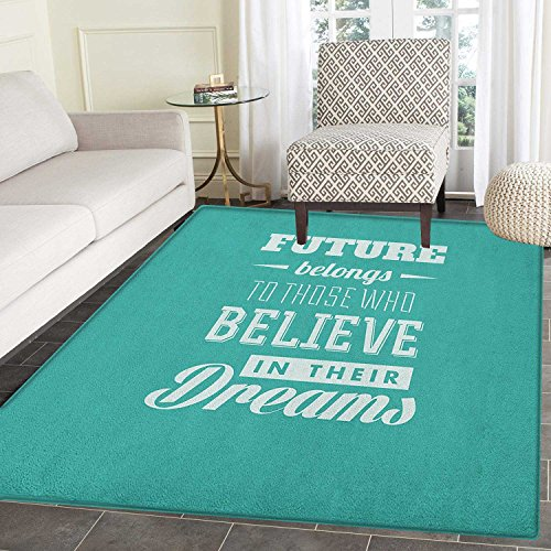 Motivational Non Slip Rugs Hipster Letters Saying Advice Believe in Your Dreams Have Faith in Yourself Door Mats for inside Non Slip Backing 4'x5' Teal White by smallbeefly