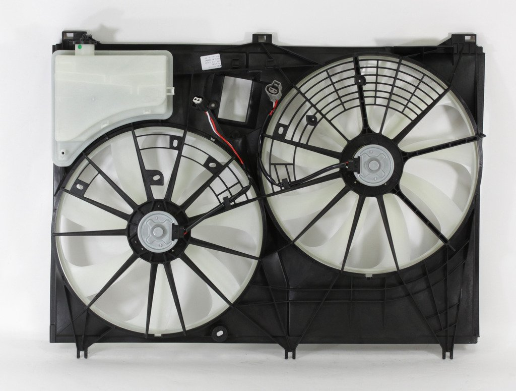 Dual Radiator and Condenser Fan Assembly - Cooling Direct For/Fit TO3115187 14-18 Toyota Highlander 2.7L L4 14-16 Toyota Highlander 3.5L V6 WITHOUT Tow Package