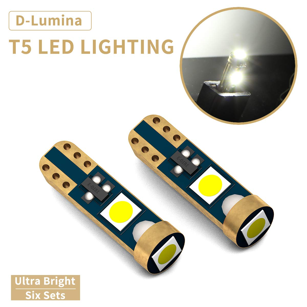 D-Lumina T5 74 2721 17 18 37 70 W3W Wedge LED Bulb,Canbus Error Free 3SMD 3030 Chips For Car Interior Dashboard Instrument Gauge Cluster Indicator Light Panel Dash Lamp,Xenon White,10 Pack
