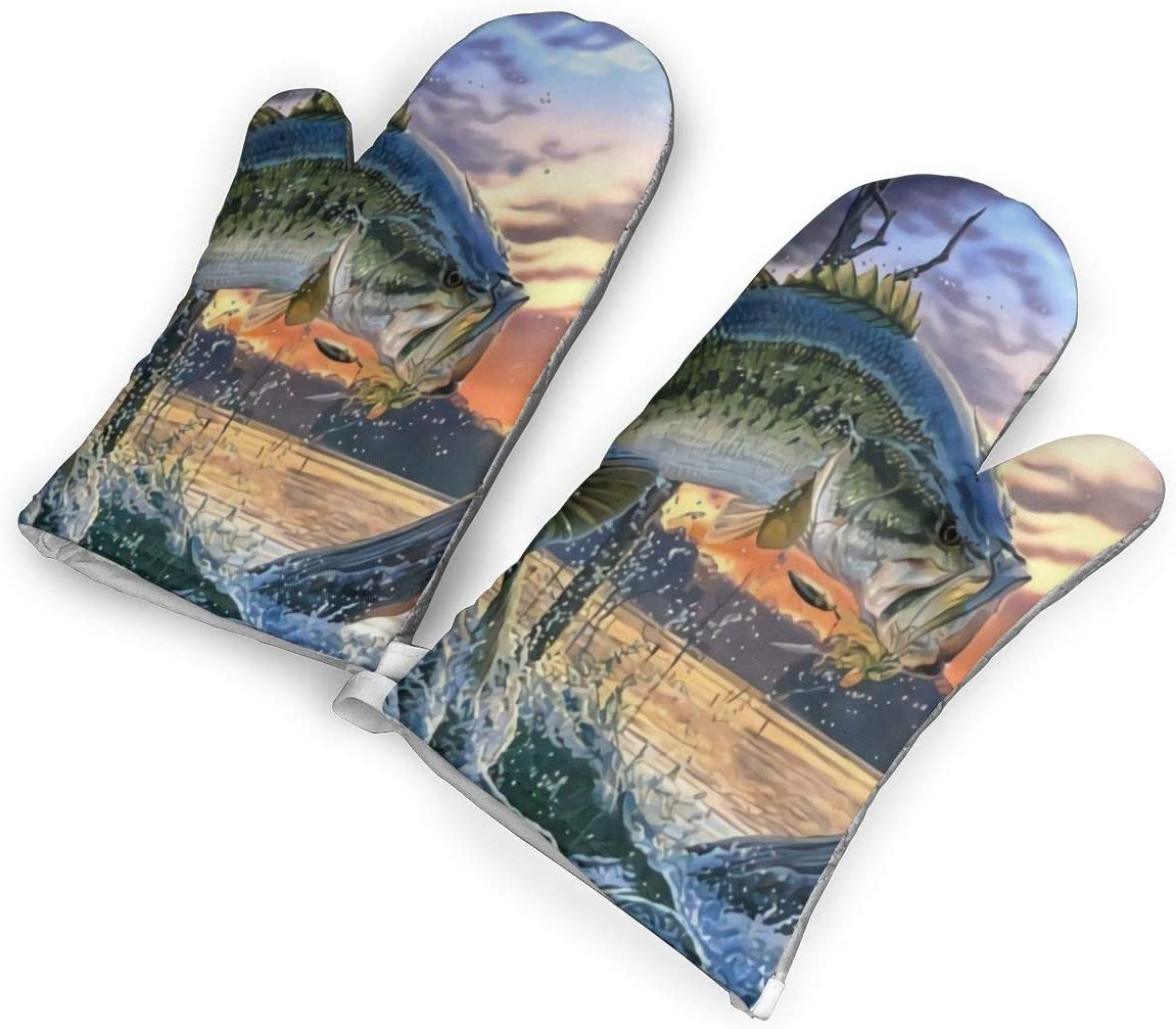 Antvinoler Fishing Bass Mouth Kitchen Oven Mitt,Nylon Long Microwave Oven Glove, Extreme Heat Resistant 572 Degree Nonslip Glove for Potholders Cooking, BBQ, Frying, Baking (1 Pair)