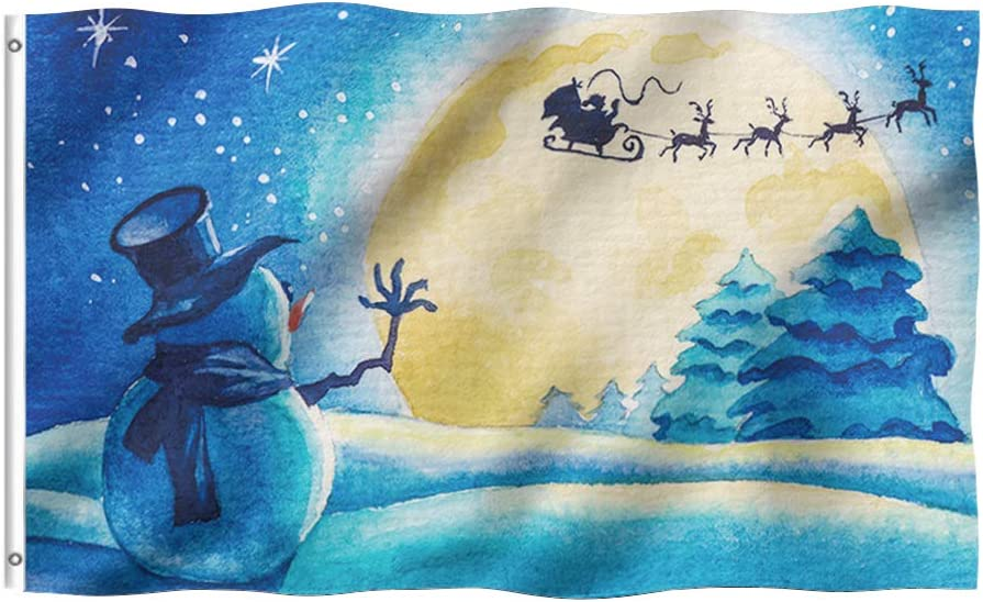 Tititex Merry Christmas Holiday Snowman Garden Flag 3 x 5 Ft, Santa Sleigh Deer Starry Night Double Stitched with Brass Grommets for Outdoor Indoor Home Decor