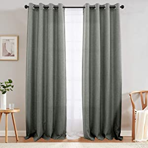 jinchan Linen Textured Curtains Bedroom Room Darkening Window Curtain Panels Living Room Single Panel 95 Dark Grey