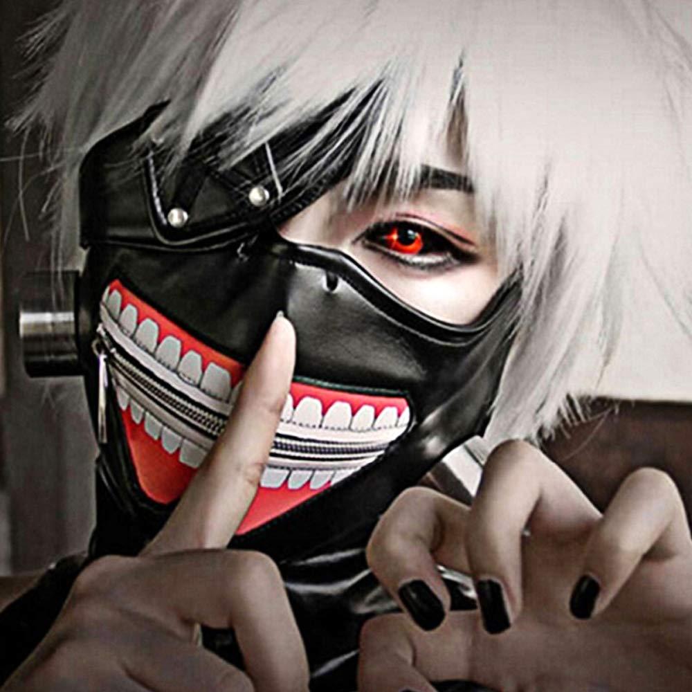 ONE250 Japanese Anime Tokyo Ghoul Kaneki Ken Cosplay Full Face Head Mask Novelty Costume Party PU Leather Black Festival Mask