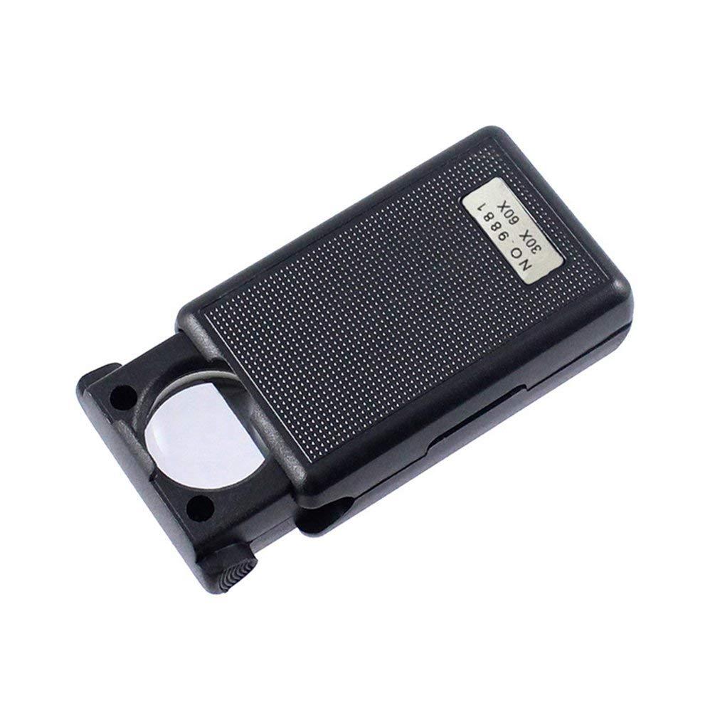 Hehilark 30X 60X Pull-Type Bijoux Loupe Mini Poche Main Loupe Portable Microscope Loupe Optique Outil de Lentille Optique w//LED