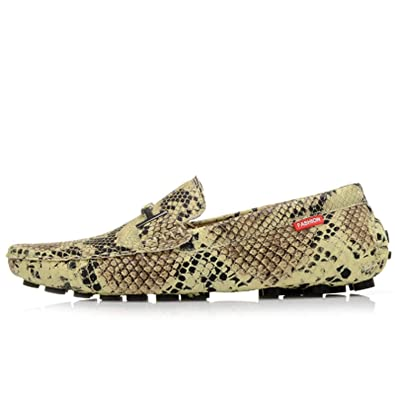 9dd68b381efe Amazon.com   It's a big deal Gold Silver Women's Flats Snake Print Driving  Shoes Male Casual Loafers Shoes Men Slip On Moccasins   Loafers & Slip-Ons