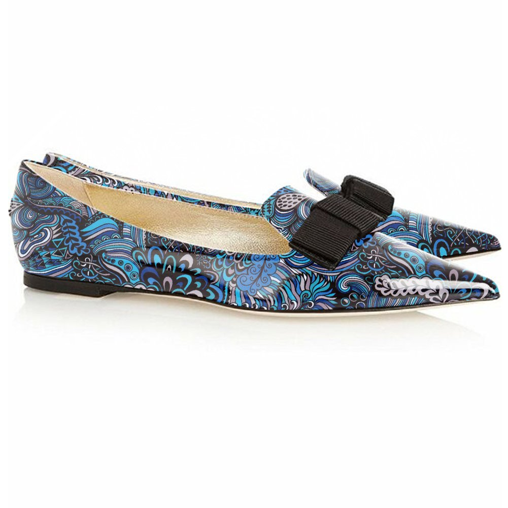 Eldof Women's Flats, Pointed Toe Flats Pumps, Patent Leather Flats Pumps, Walking Dress Office Classic Comfortable Flats B07F152PHW 6.5 B(M) US|Blue-flower