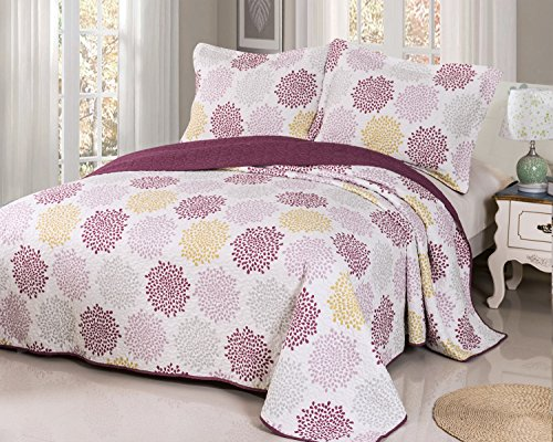 Patchwork Bedspread Twin Size Red Violet-include Magic Pillow Sham as Bedspread,Bedcover,Damask Coverlet,Bed Throw,Blanket Quilt (Twin:68