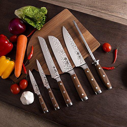 BGT Japanese 67 Layer High Grade VG-10 Super Damascus Steel Knives, Sharp, Teak Handle Professional Hammered Kitchen Knife Set with Knife Roll Bag 6Pcs Set (Silver Blade) by BGT (Image #4)