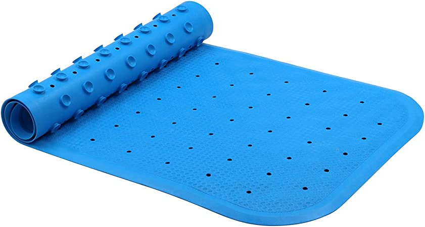 Shower Bath Mat PVC Non Slip Suction Cups Grip Blue White Grey or Hot Pink