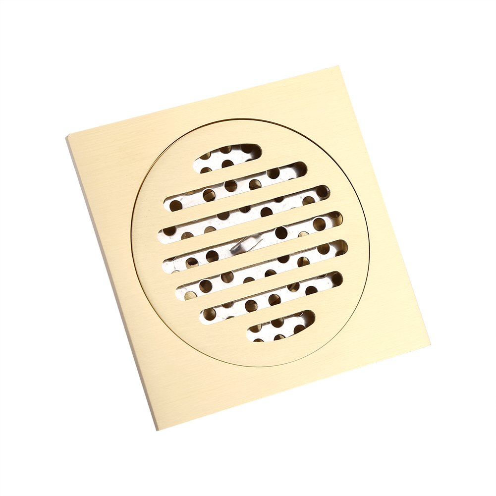 Brass Square Shower Floor Drain Bathroom Tile Insert Floor Drainer with Removable Strainer Cover Anti-clogging for Kitchen Washroom Garage and Basement