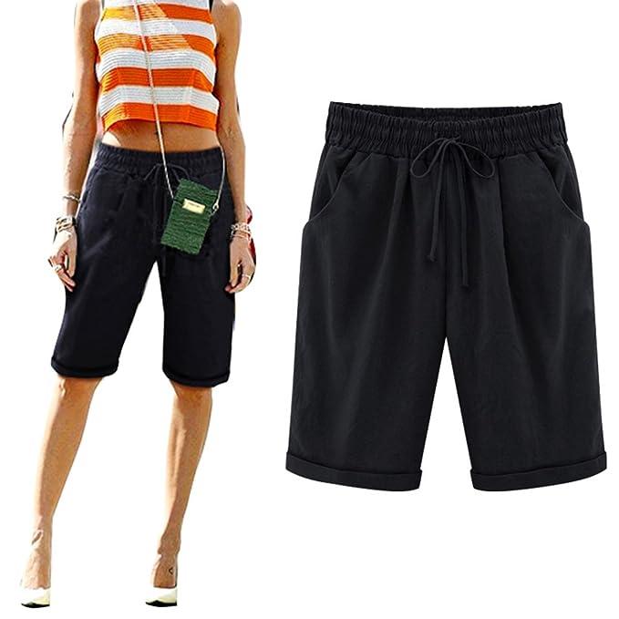 29c725741 Hibote Mujeres Casual Cintura Elástica Rodilla de Longitud Salvaje Pantalones  Cortos con Cordón Talla Grande Bermuda Cortos Deporte Shorts M-6XL   Amazon.es  ...