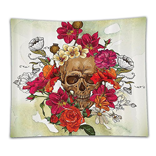 Beshowereb Fleece Throw Blanket Skulls Decorations Collection Skull and Flowers Buds Leaves Daisies Camellias Festival Season Image Po