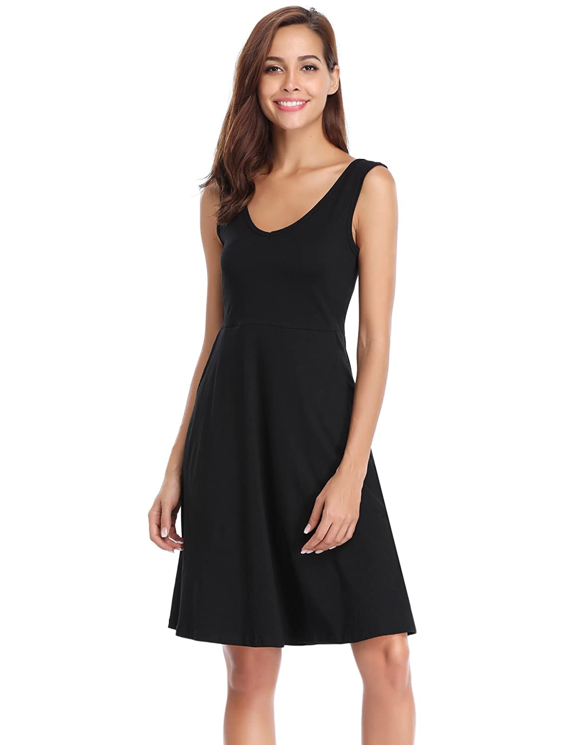 Black_1 Aibrou Women's Nightgown Cotton V Neck Summer Nightshirt Dress Sleepwear