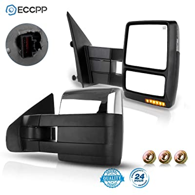 ECCPP Towing Mirrors Replacement fit for Ford F150 2004-2014 Chrome Power Heated Signal Puddle Light Pair Set: Automotive