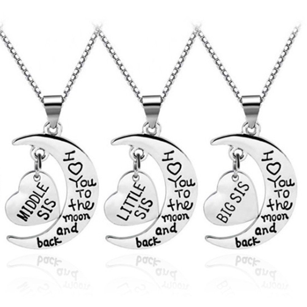 Women Family Jewellery Set Silver Love Heart Baby Mid Big Little Sister Pendant Necklace lifelovevc