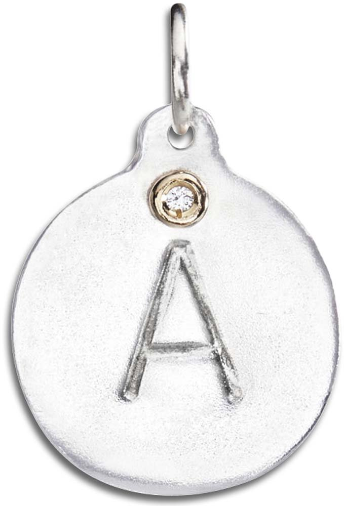 Helen Ficalora ''A'' Alphabet Charm with Diamond Sterling Silver