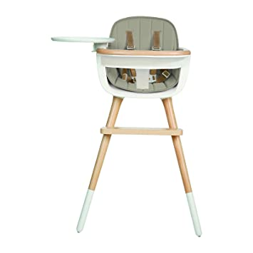 81732614f5ad Amazon.com   Ovo Max Luxe Convertible High Chair With Leather Strap with  Beige Fabric Pad   Baby
