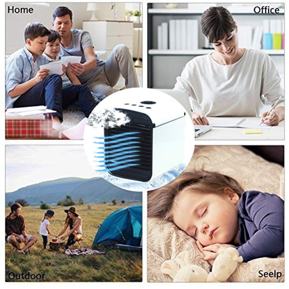 Blanc Mini Air Cooler Ventilateur de Refroidissement /à Eau Portable avec Ventilateur mini refroidisseur dair USB et 3 Niveaux de Ventilation 7 Couleurs