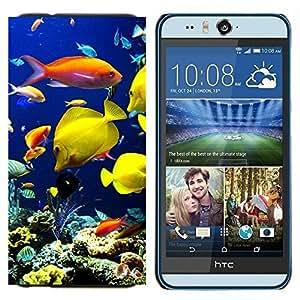 TECHCASE---Cubierta de la caja de protección para la piel dura ** HTC Desire Eye ( M910x ) ** --Submarino de Arrecifes de Coral Buceo Peces