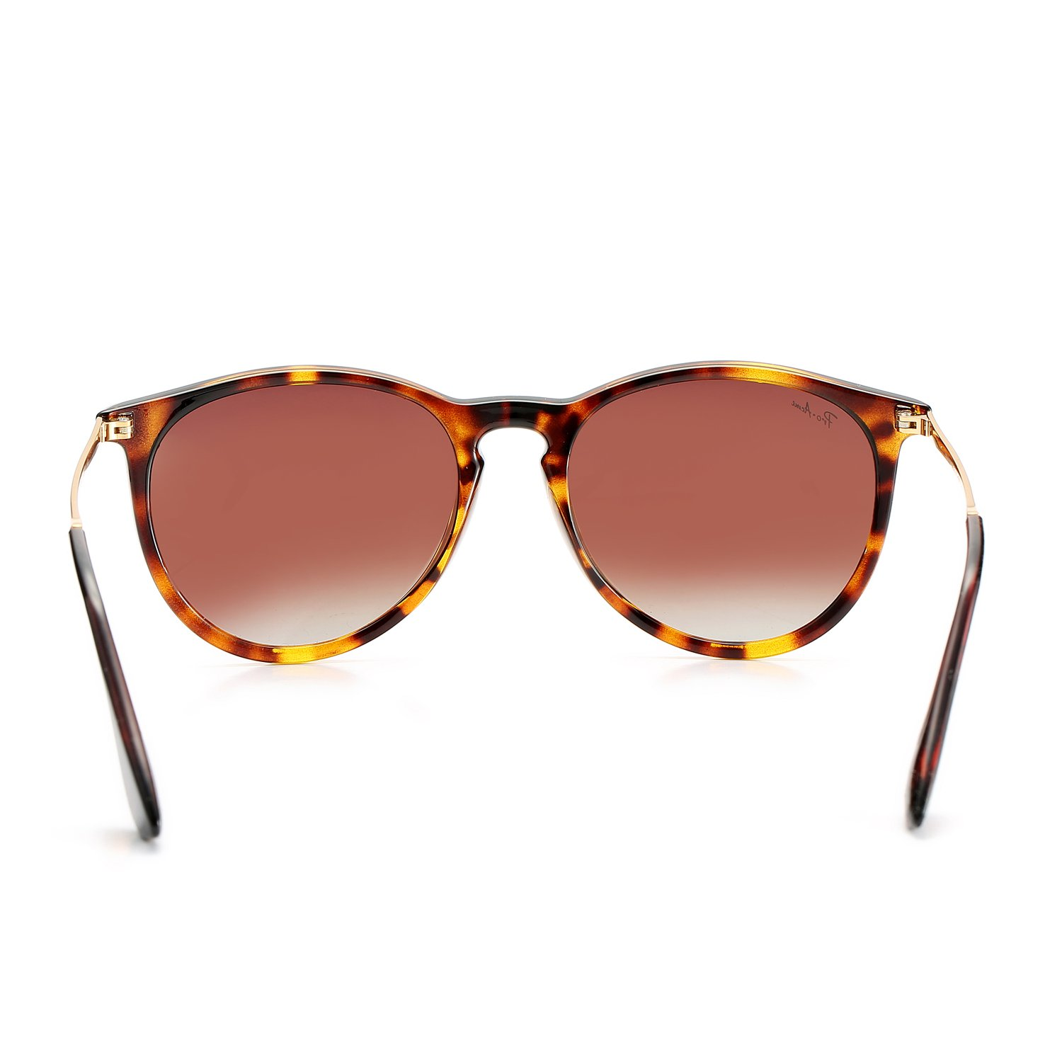 Polarized Sunglasses for Women Classic Round Style 100% UV Protection (Tortoise; Gold/Brown Gradient) by Pro Acme (Image #5)