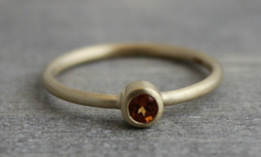 Mandarin Garnet 14kt Yellow Gold Stacking Ring, Size 7 by Sophia Rose Jewellery