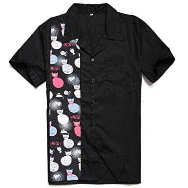 341bd2d04d2 Candow Look Men Shirts Halloween Funny Cat Meow Print Contrast Color  Amazon .co.uk  Clothing