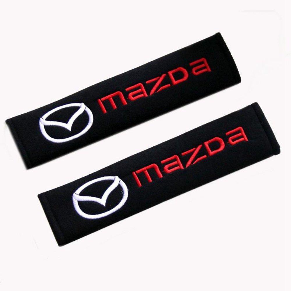 Altergo Mazda Cars Embroidered Badge Comfortable Seat Belt Shoulder Pad Cover Velcro Opening Jinbu 1 Pair