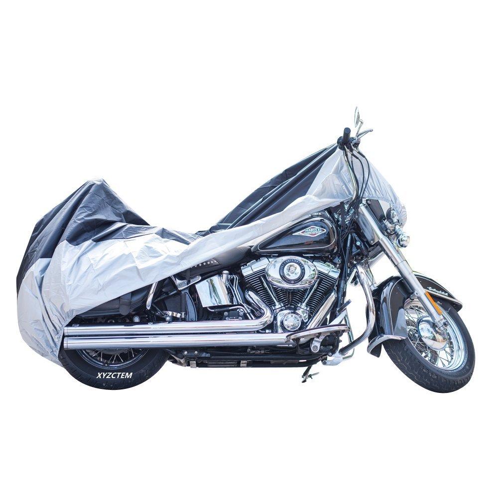 XYZCTEM XXXL large All Season Black Waterproof Outdoor Sun Motorcycle cover,116 For Harley Davidson Honda Suzuki Kawasaki Yamaha and All Motors Lockhole