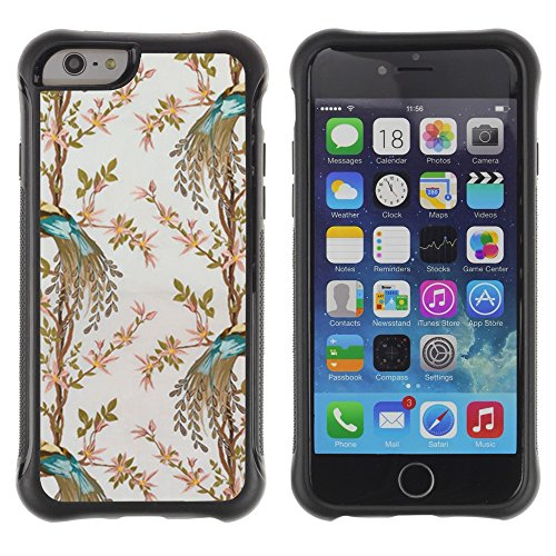All-Round Hybrid Rubber Case Hard Cover Protective Accessory Compatible with Apple IPhone 6 (4.7'') - teal bird floral pattern flowers wallpaper
