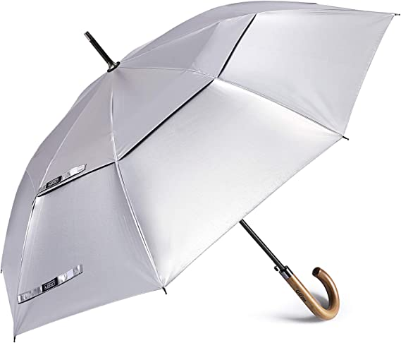 G4Free UV Protection Large Stick Umbrella Auto Open Wooden J Hook Handle Umbrellas Windproof Double Canopy