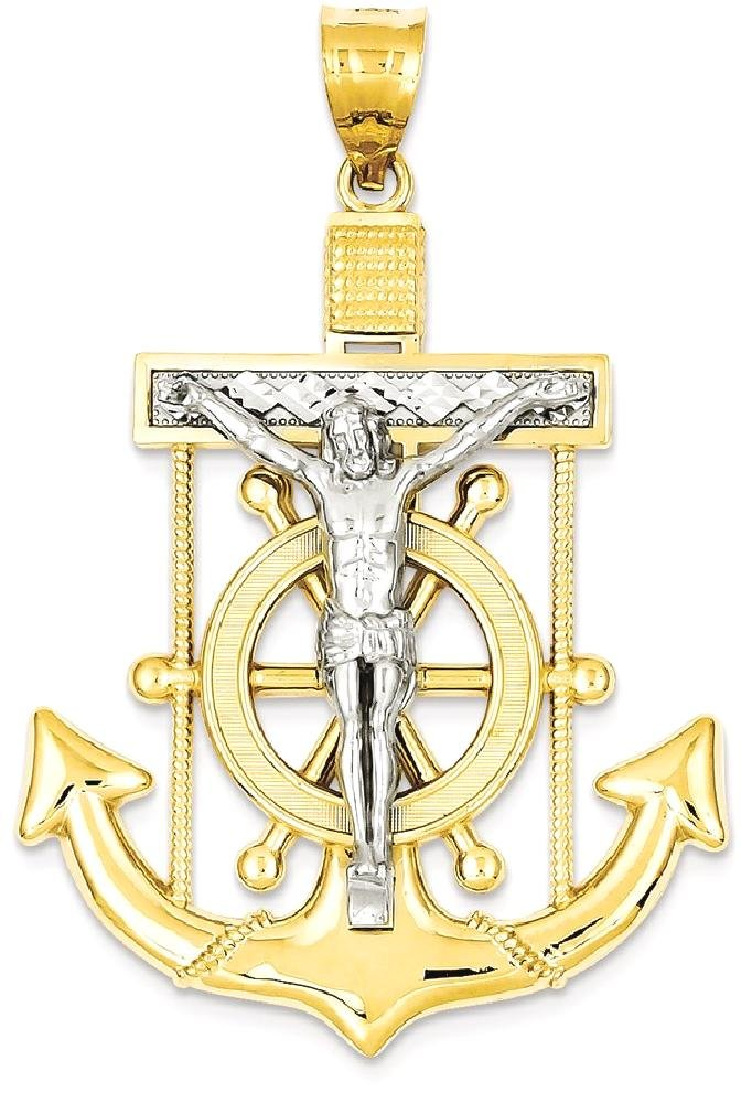 ICE CARATS 14k Two Tone Yellow Gold Nautical Anchor Ship Wheel Mariners Cross Religious Pendant Charm Necklace Crucifix Mariner Fine Jewelry Gift Set For Women Heart
