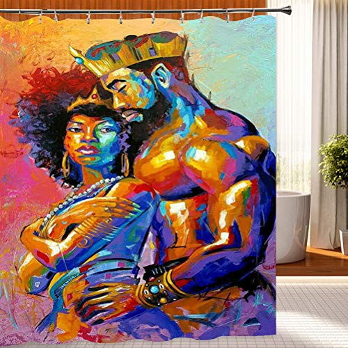Wencal Lovers Couple King Queen African American Shower Curtain for Bathroom with Hooks Waterproof 72 x 72 Inches (Couples Shower Curtain)