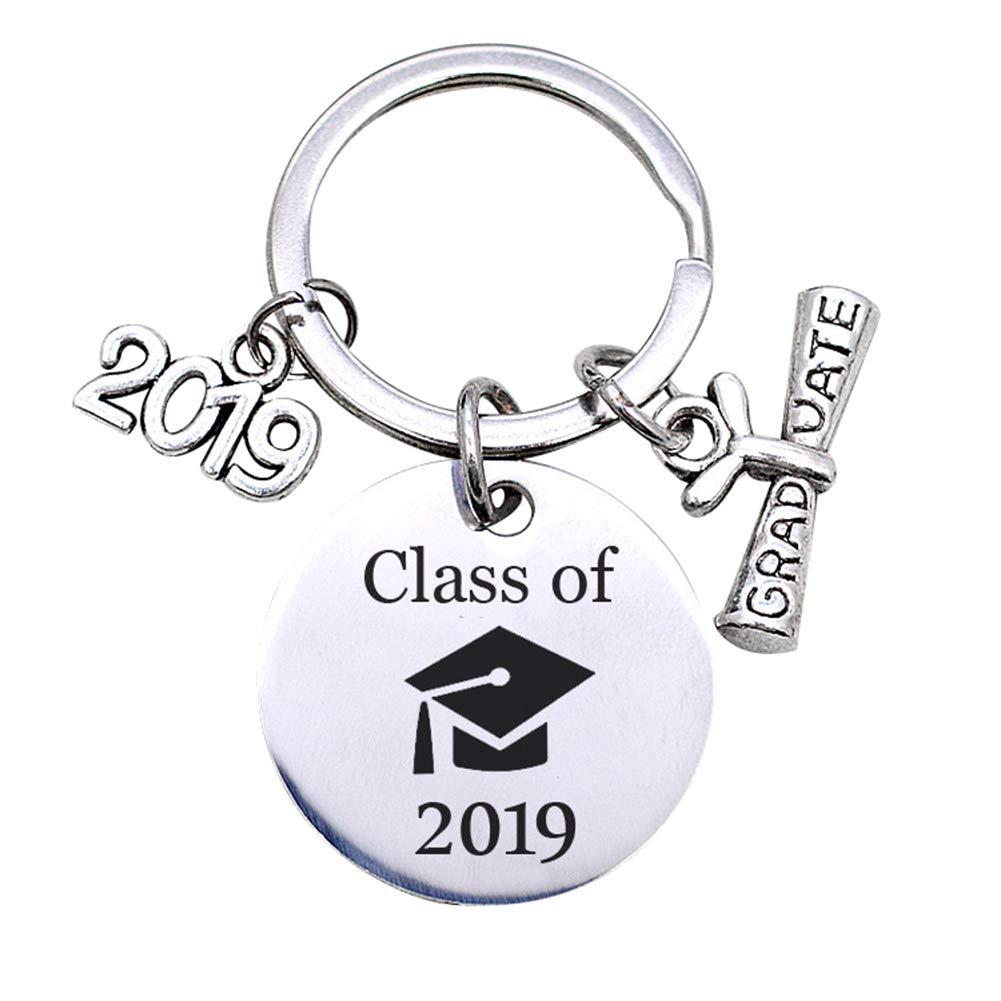 bromrefulgenc Key Chain for Graduate,English Letter Class of 2019 Graduate Keychain Key Ring Holder Organizer Gift Silver