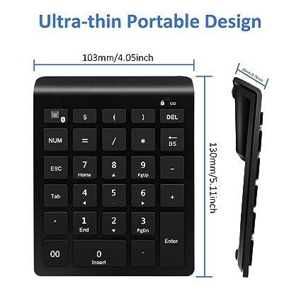Rytaki numérica Bluetooth con Varios atajos Teclado numérico de 28 Teclas para Ingreso de Datos de Contabilidad financiera para Windows Teléfonos ...