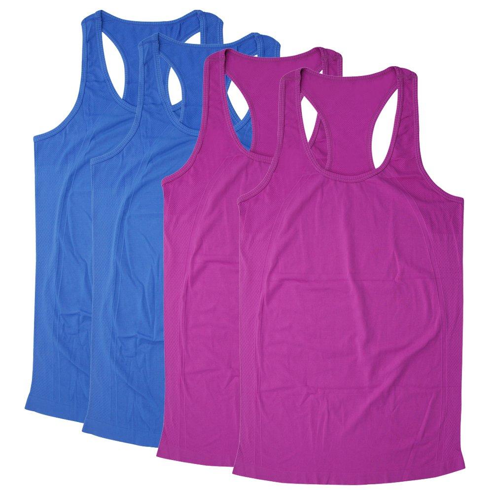 Tank Tops Camisole, BollyQueena Women's Nylon Tanks For Women Multicoloured S 4 Packs