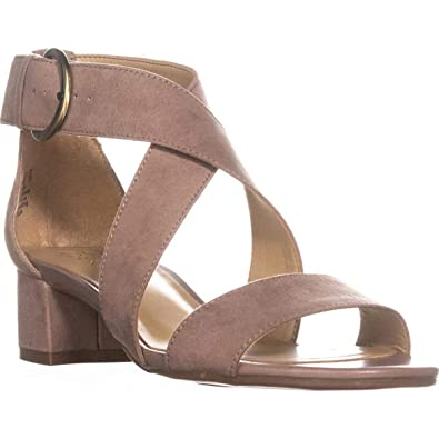 7bf13955202e Naturalizer Womens Amelia Faux Suede Strappy Dress Sandals Brown 5 Medium  (B