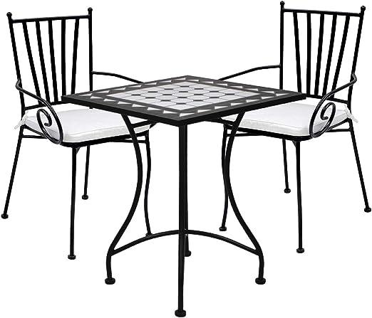 Desconocido Set de 2 Sillas con reposabrazos y Mesa de cerámica (Negro): Amazon.es: Jardín