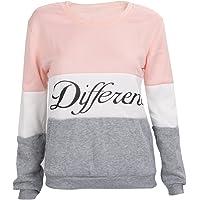 SODIAL Ropa femenina Cartas estampadas Diferente Mixto Informal suelto Sueter de pulover Gris + rosado M