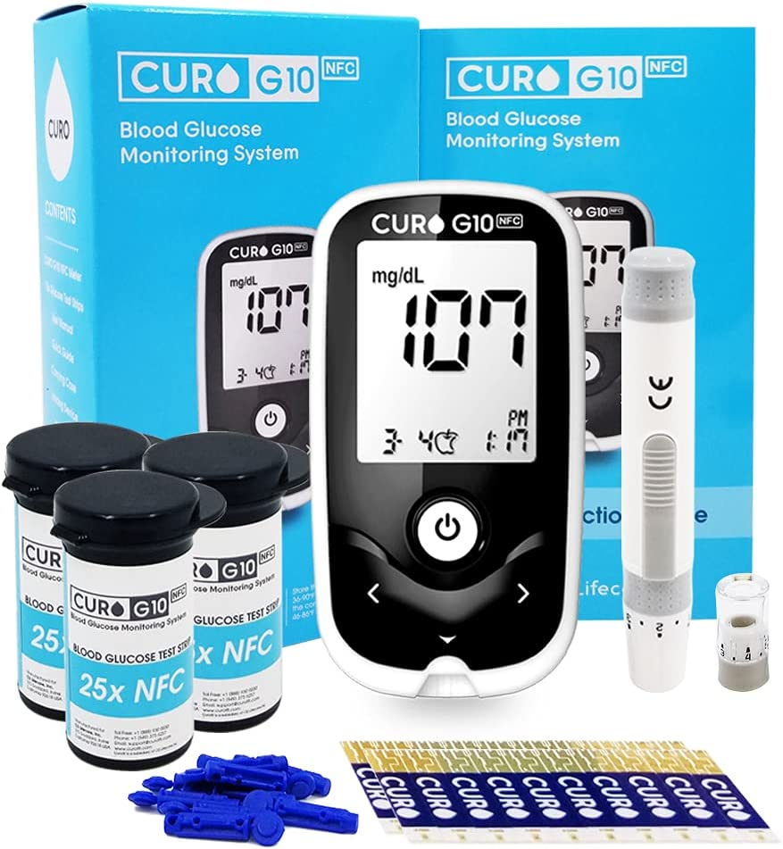 [CUROfit] CURO G10 Glucose Home Test Kit : NFC Enabled Connect with CUROfit on iOS & Android Devices- Blood Sugar Monitor Device, 60 Strips & 60 Lancets!! Completion of Necessary Equipment for Test