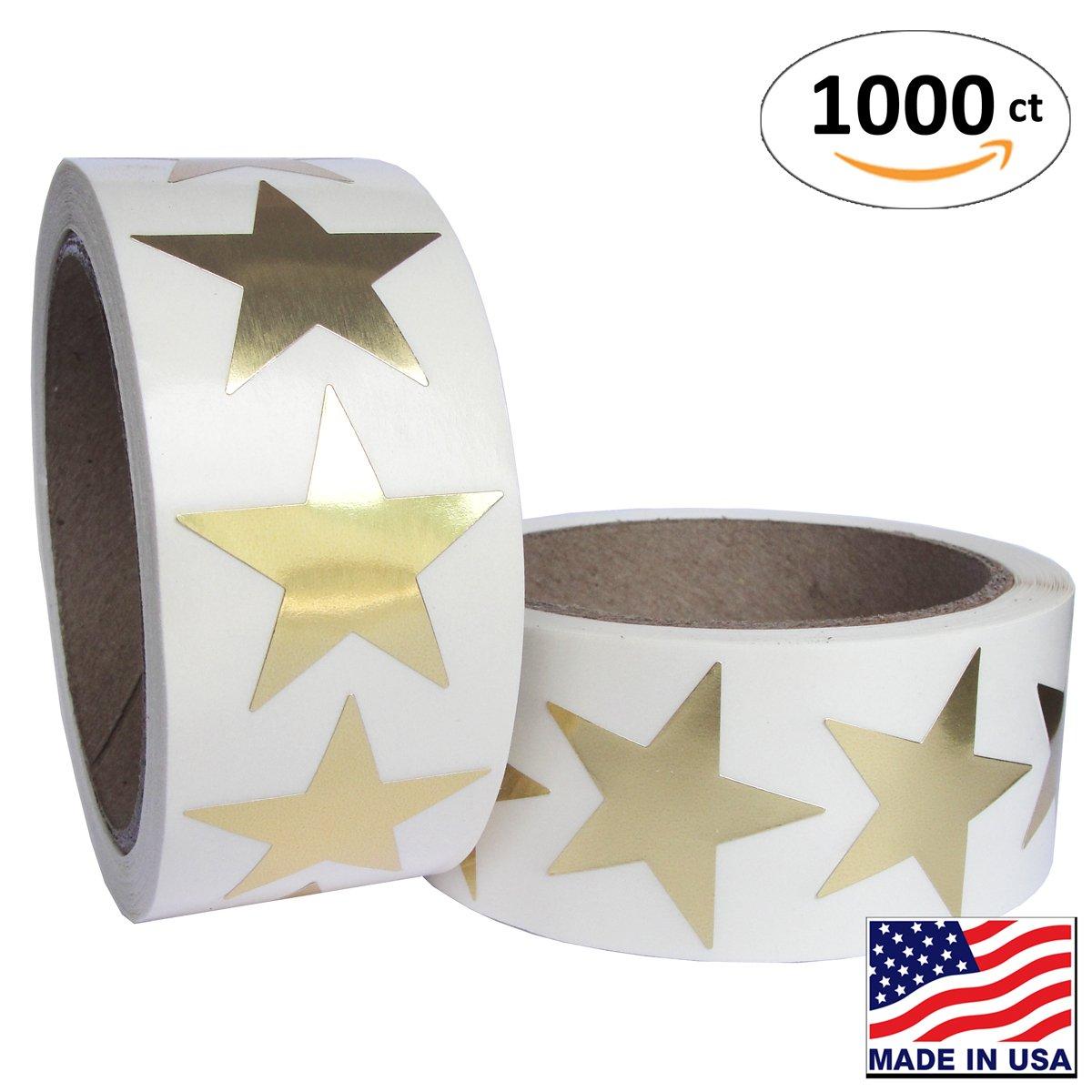 Gold Metallic Star Shape Foil Sticker Labels, 500 Labels per Roll, 2 rolls in the package, 1 1/2 inch diameter, 1.5''