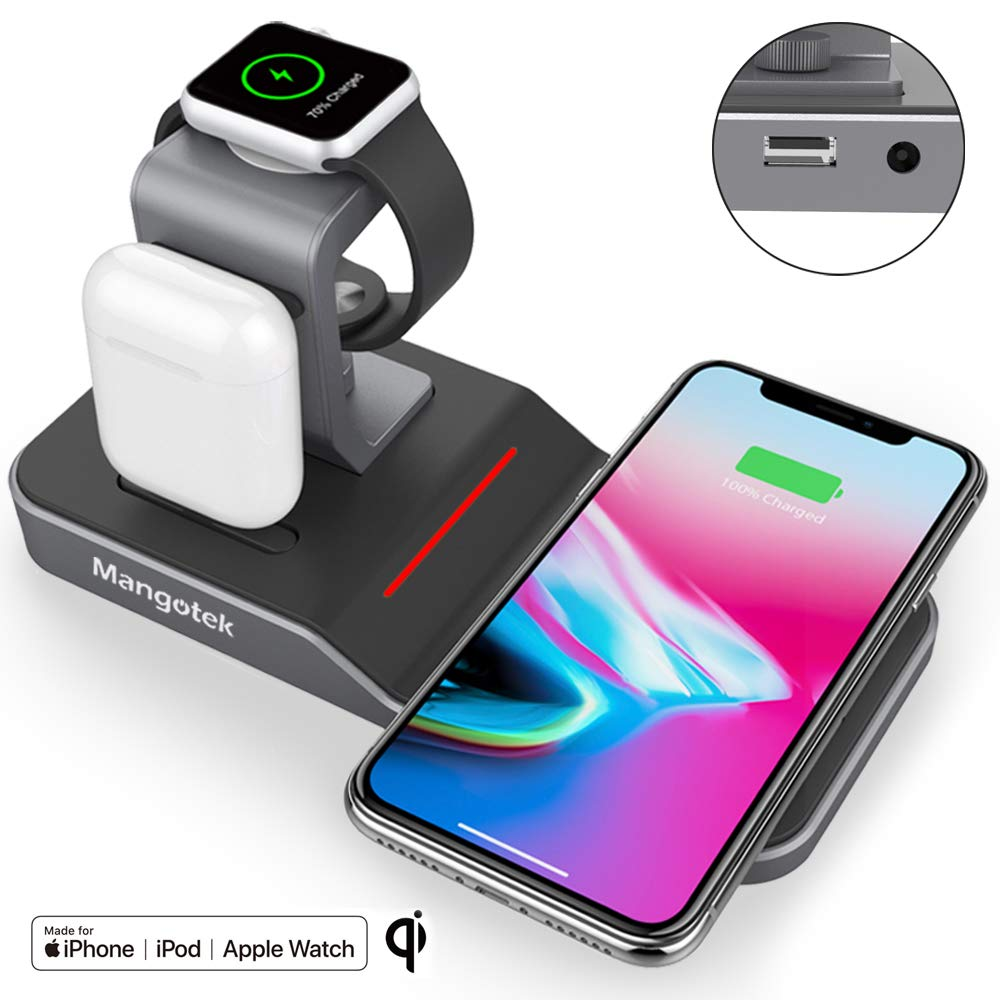 Mangotek Apple Watch Stand Wireless Charger for iPhone and iWatch, 4 in 1 Phone Charging Station with Lightning Connector and USB Port for iPhone 8/X/XR/7/6 and iWatch Series 4/3/2/1 MFi Certified by Mangotek