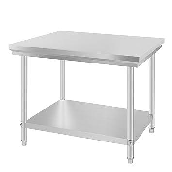 Mophorn Edelstahl Arbeitstisch 90 x 60 cm küchen Arbeitstisch Silber ...