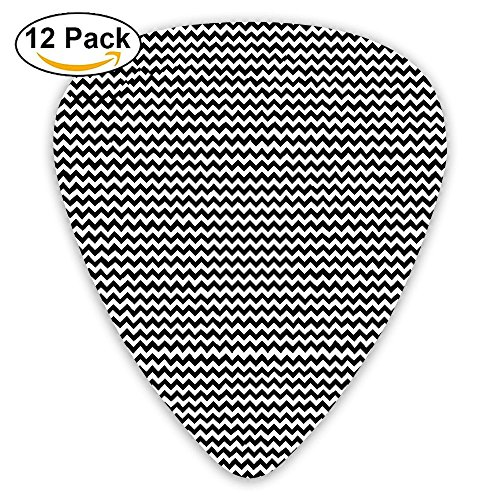 LLGUITAR Wavy Pattern Guitar Picks 12pack Celluloid Plectrum Custom 0.46mm/0.71mm/0.96mm For Electric Acoustic Guitars Bass Best Stocking Stuffer Gifts For Kids Teens (Wavy Round Tip Black Nylon)