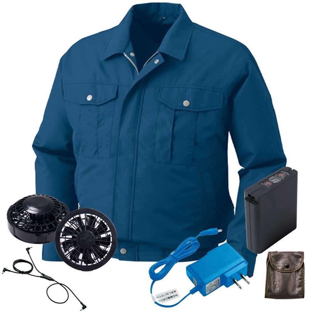 空調服 ブルゾン黒ファンバッテリーセット KU90542 B07FGQTQK9 M 14ダークブルー 14ダークブルー M