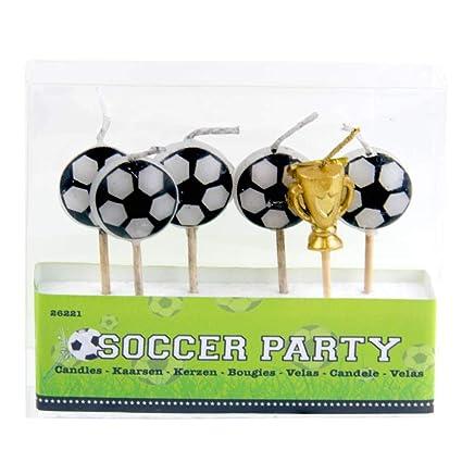 Amazon.com: 6 mini velas, balones de fútbol y trofeo en ...